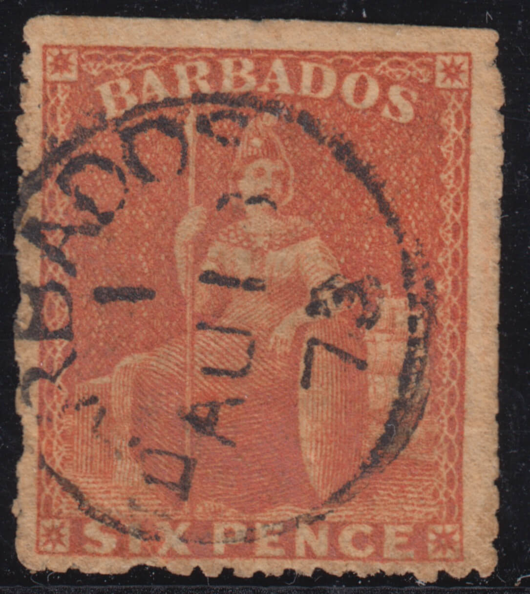 Barbados SG50 partly trimmed