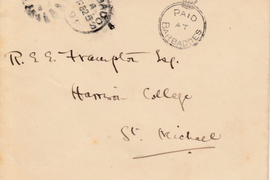 1893 'Paid at Barbadoes' cancelled cover, dated Feb 25 1893, sent to Harrison College, St Michael