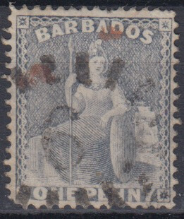 Barbados SG73 | 1d Dull Blue with numeral '6' St Joseph bootheel cancel and some extra ink marks