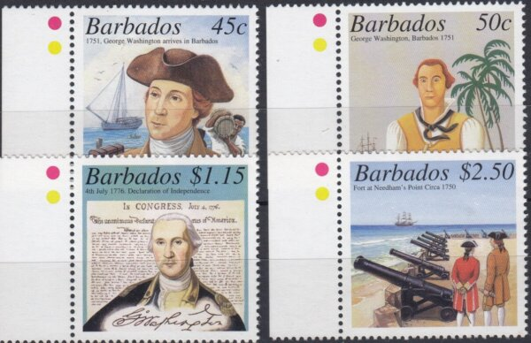 Barbados SG1193-1196 | 250th Anniversary of George Washington's visit to Barbados