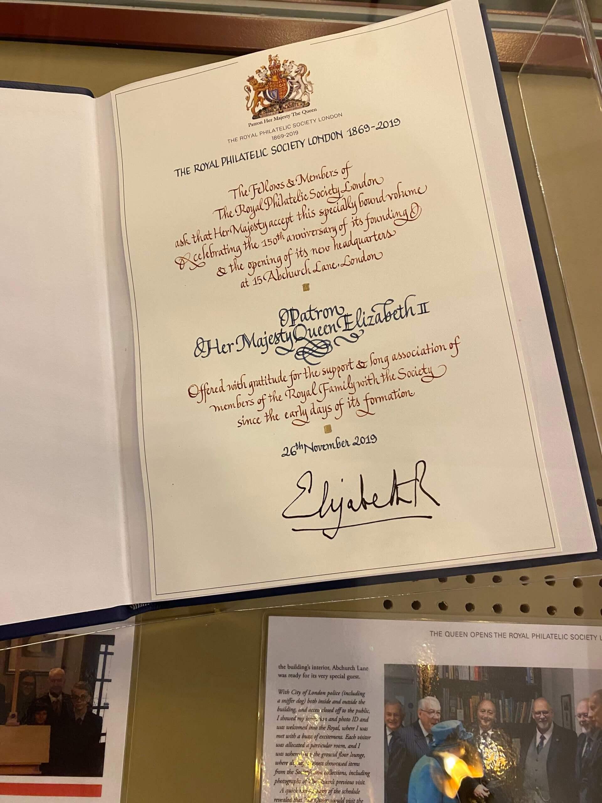 Visitors Book Royal Philatelic Society