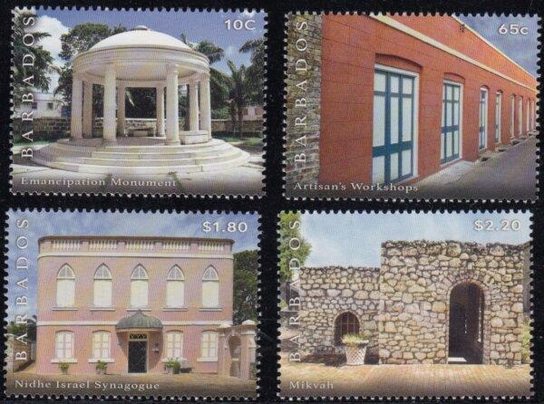Synagogue Block restoration stamp set   Barbados Stamps
