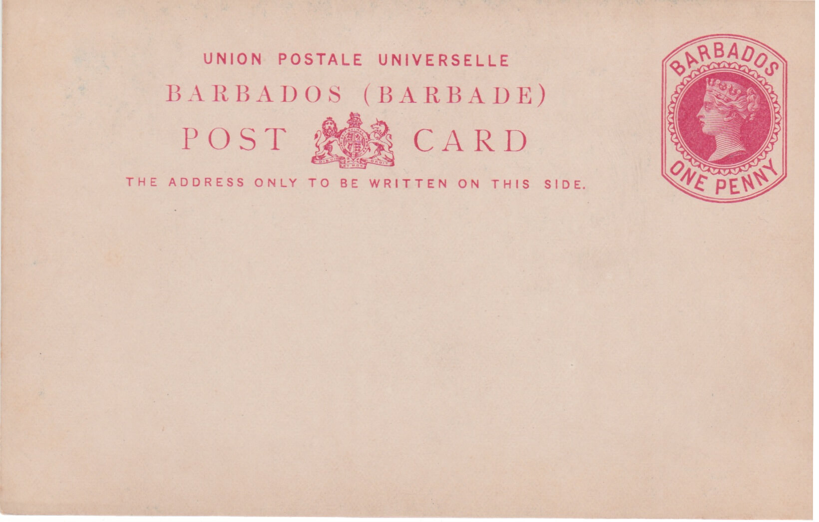Barbados Reply paid card