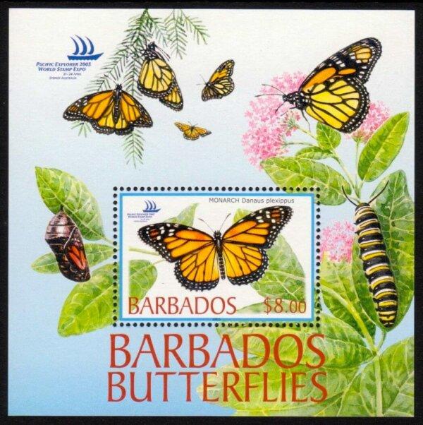 Barbados SGMS1265 | Butterflies, Pacific Explorer 2005 World Stamp Expo, Sydney, Australia